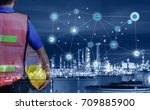 Small photo of Smart refinery factory and wireless communication network, oil and gas industry petrochemical plant, Internet of Things concept of fast or instant shipping, Online goods orders worldwide
