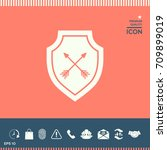 shield with arrows. protection... | Shutterstock .eps vector #709899019