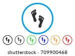 Footprints Rounded Icon. Vecto...