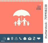 family under umbrella   family... | Shutterstock .eps vector #709908238