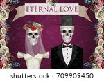 two newlywed skeletons in low... | Shutterstock .eps vector #709909450