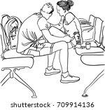 vector art drawing of lovely...   Shutterstock .eps vector #709914136