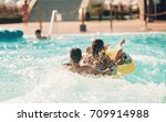 young people having fun on the... | Shutterstock . vector #709914988