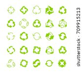 recycling ecology thin line... | Shutterstock . vector #709915213