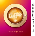 cup coffee latte with beautiful ...   Shutterstock .eps vector #709922290