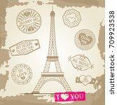 hipster or vintage postcard... | Shutterstock .eps vector #709923538