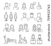 hospital staff thin line icons...   Shutterstock .eps vector #709923763