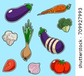 set of vegetables  sticker... | Shutterstock .eps vector #709927993