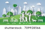 concept of eco with happy... | Shutterstock .eps vector #709928566