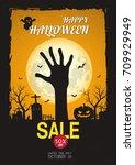 halloween sale .vector design...   Shutterstock .eps vector #709929949