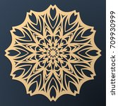 laser cutting mandala. golden... | Shutterstock .eps vector #709930999