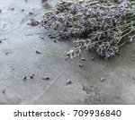 bouquet of lavender on a gray... | Shutterstock . vector #709936840