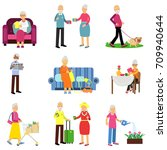 senior man and woman activities ... | Shutterstock .eps vector #709940644