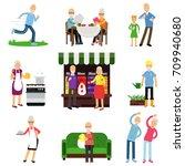senior people activities set ... | Shutterstock .eps vector #709940680