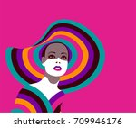 portrait of fashionable woman... | Shutterstock .eps vector #709946176