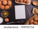 fresh farm eggs whipping eggs... | Shutterstock . vector #709952716