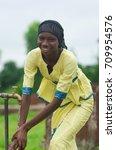 happy african girl finally... | Shutterstock . vector #709954576