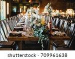 wedding table setting  | Shutterstock . vector #709961638