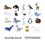 big set of north animals.... | Shutterstock .eps vector #709968484
