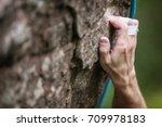 closeup view of rock climber's...   Shutterstock . vector #709978183