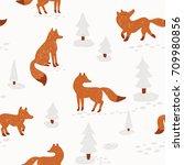 cute animalistic seamless... | Shutterstock .eps vector #709980856