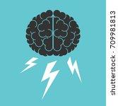 brain and lightnings.... | Shutterstock .eps vector #709981813