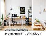 trendy room with workspace for... | Shutterstock . vector #709983034