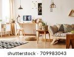 modern loft interior full of... | Shutterstock . vector #709983043