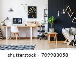 nordic natural interior in... | Shutterstock . vector #709983058
