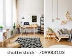 modern white craft room in open ... | Shutterstock . vector #709983103