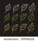 sketched leaves with texture on ... | Shutterstock .eps vector #709983328
