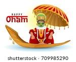 happy onam greeting card. hindu ...   Shutterstock . vector #709985290