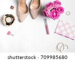 feminine accessories with roses ... | Shutterstock . vector #709985680