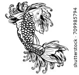 hand drawn outline koi fish and ... | Shutterstock .eps vector #709985794