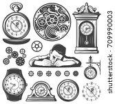 vintage monochrome clocks... | Shutterstock .eps vector #709990003
