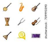 set of 9 editable sound flat... | Shutterstock .eps vector #709993390