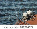metal bollard with mooring... | Shutterstock . vector #709994524