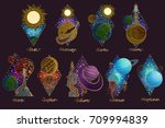 planets of the solar system... | Shutterstock .eps vector #709994839
