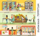 people in supermarket... | Shutterstock .eps vector #709997164