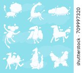 cute animal clouds white... | Shutterstock .eps vector #709997320