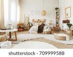 three big carpets on the floor... | Shutterstock . vector #709999588