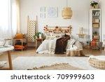 spacious bright cozy bedroom... | Shutterstock . vector #709999603