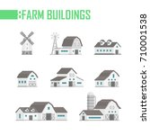 five farm buildings set of... | Shutterstock .eps vector #710001538