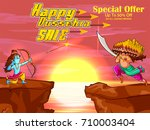 lord rama in happy dussehra... | Shutterstock .eps vector #710003404