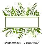 green leaves branches frame... | Shutterstock .eps vector #710004064