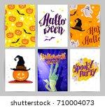 collection of cartoon halloween ... | Shutterstock . vector #710004073