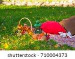 autumn still life  decoration... | Shutterstock . vector #710004373
