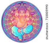 hindu lord ganesha over ornate...   Shutterstock .eps vector #710005990