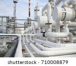 heat exchangers in a refinery.... | Shutterstock . vector #710008879