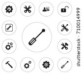 set of 12 editable repair icons.... | Shutterstock .eps vector #710014999
